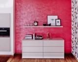 Diese Küche wurde mit starken Farben gestaltet. Dafür nutzte man unsere Effektfarbe Sospiri.