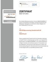 Zertifikat BEST OF 2012 eLearning für Web2Touch von NEURONprocessing Gesellschaft bR