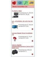 Die neue ServiceBox vom Preisvergleich Wir-Lieben-Preise: favorisierte Produkte und Shops