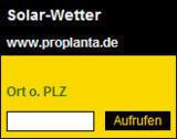Solar-Wetterfenster von Proplanta