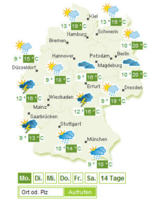 Wetterkarte zum Proplanta Profi-Wetter (Bild: Proplanta)