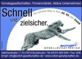Schnell und zielsicher. Der schnelle Weg zur AG, KG, GmbH.