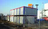 HKL Raumeinheiten dienen während der Bauphase als funktionale Büro- und Aufenthaltslösung
