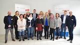 Standortleiterin Michaela Ortega-Dax begrüßt mit ihrem Team den Merziger Bürgermeister