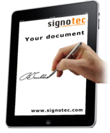 Mobil signieren auf dem Tablet. Abb.: signotec