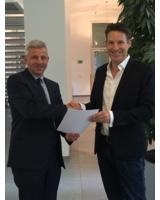 v.l. Dr. Markus Weber, Präsident des Landgerichts Bonn und Handelsrichter Timo Müller