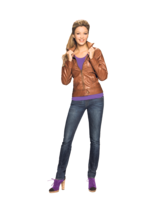 Modische Kleidung muss nicht teuer sein. (Lederimitatjacke und Jeans jeweils 19,99 €, Shirt 3,99 €)