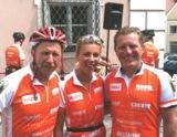 Swetlana Reiche mit Beneflizz-Initiator Hubert Schwarz (li.) und Radprofi Jens Heppner (re.)