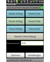 Motec-data UG bietet eine App an, die Arbeitszeiten per Knopfdruck übermittelt.