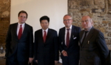 v.li.: Norbert Scheuch, Cangron Ma, Gastgeber Martin Haas, Prof. Dr. Helmut Haussmann