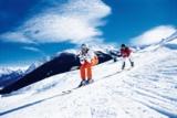 Skifahrer in der Schusshocke