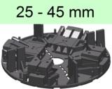 Stelzlager 25-45mm hoch, alle vier Ecken einzeln verstellbar
