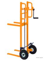 per Rollenkette heben die Hubkarren bis 250 kg, Gabeln oder Plattform