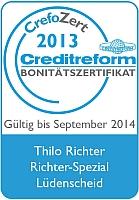 """Bonitätssiegel """"CrefoZert"""" für Richter Spezial, verliehen von der Creditreform Hagen"""