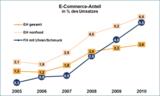 Übersicht: E-Commerce-Anteile im Vergleich 2005-2010 in % vom Umsatz