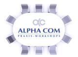 Logo der ALPHA COM Praxis-Workshops. Foto: ALPHA COM