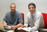 Alex Homburg (rechts), Geschäftsführer Redaktionsbüro Stutensee und Niki Hüttner (links).