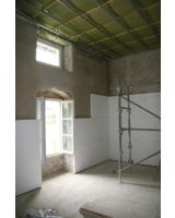 In 3,5 m Höhe wird der Raum durch eine Decke unterteilt. epatherm-Platten werden verlegt.