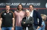 (Foto: hl-studios, erlangen): v.l.: Cheftrainer Andersson, Pavel Horák, Ulrich Liebe und Stefan Adam