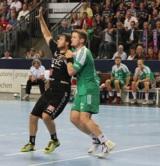(Foto: hl-studios, Erlangen): HCE gegen Friesenheim –Jonas Thümmler (links) erzielt sieben Tore