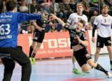 (Foto: hl-studios, Erlangen): Linksaußen Christopher Bissel mit drei Treffern erfolgreich
