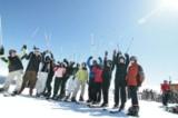Skigruppe am Berg