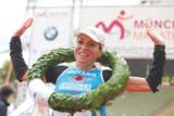 Die strahlende Siegerin: Bernadette Pichlmaier in München (Foto: München Marathon)
