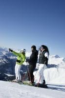 Skifahrer beim Genießen des Bergpanoramas