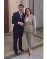 Sabine Herold, Geschäftsführende Gesellschafterin von DELO, und Philipp Rösler, Wirtschaftsminister