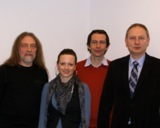 Im Bild v.l.n.r: Herr Heimannsberg , Frau Haring (GFOS), Herr Holter, Herr Heneweer (Schulleiter)