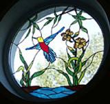 Glasfenster mit Bleiverglasung Vogelmotiv