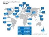 Weltkarte der Prävalenz von Kopfschmerzen