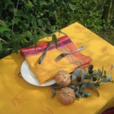 Serviette, Jacquard Olive-gelb