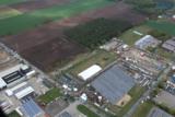 Luftbild zur IGEHA 2015, links Nordbleche Werk 1 (Vertrieb), rechts Werk 2 (Trapezblech Produktion)