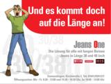 """Jeans One: Kampagne """"Lange Jeans für große Männer"""""""