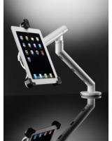 Moderner Arbeitsplatz mit der schwenk- und abschließbarer iPad-Halterung Flo Dynamic