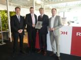 A. Pieper, T. Röttger und A. Rutzki von Ricoh Deutschland mit S. Braun von Braun Büroorganisation.