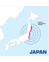 Erdbebenregion und Niigata, Sitz von Nihon 3B Scientific, auf einem Blick