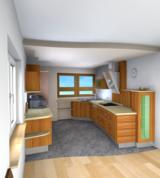 Das Bild zeigt eine Fotorealistische Küchenplanung