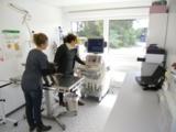 Die Tierärztin behandelt ihre tierischen Patienten während des Praxisumbaus in einem ELA-Raum.