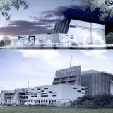 Visualisierung und aktueller Baustand des neuen Logistikzentrums