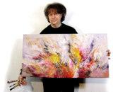 """Der Künstler Peter Nottrott mit seinem Panoramabild """"Lebensenergie 1"""",  100 cm B. x 50 cm H."""