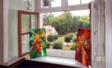 Moderne, abstrakte Malerei vom Kunstmaler Peter Nottrott schmückt das Barockschloss Neschwitz