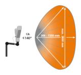Der Öffnungswinkel des 3DListeners beträgt ca. 140° bei einem Messabstand von ca. 300 – 1500 mm.