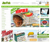 Landingpage des Angel online Shops Jim Fish auf http://jimfish.de