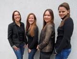 Katharina Winter, Flora Anna Grass, Mira Beißwenger und Linda Carstiuc (v.l.n.r.) sind neu bei IDM.