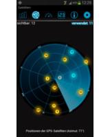 Auf dem Bild ist die App inViu GPS-details zu sehen, die Satelliten und GPS-Qualität anzeigen kann.