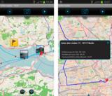 inViu routes zeigt Wegstrecke, Entfernung, Restfahrzeit und geschätzte Ankunftszeit im Display an.