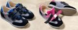 """POLOLO-Sneaker """"Berlin"""" mit Farbakzenten in Blau (für Jungen, l.) und in Pink (für Mädchen (r.)"""