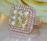 Stattlicher Ring mit gelben Diamanten & Brillanten, 2,98 Karat, gearbeitet in 18-karätigem Roségold